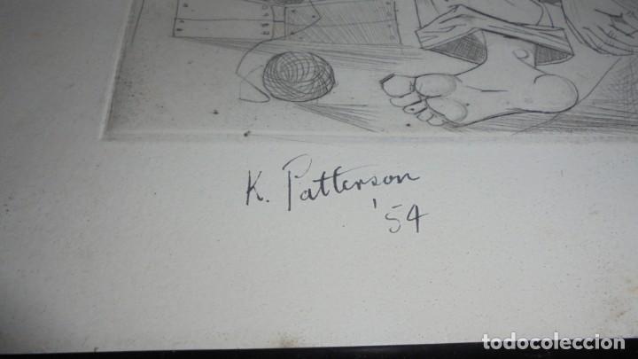 Arte: (M) ANTIGUO GRABADO FIRMADO K. PATTERSON 54 ENMARCADA 38,5X31 CM. - Foto 2 - 159124954