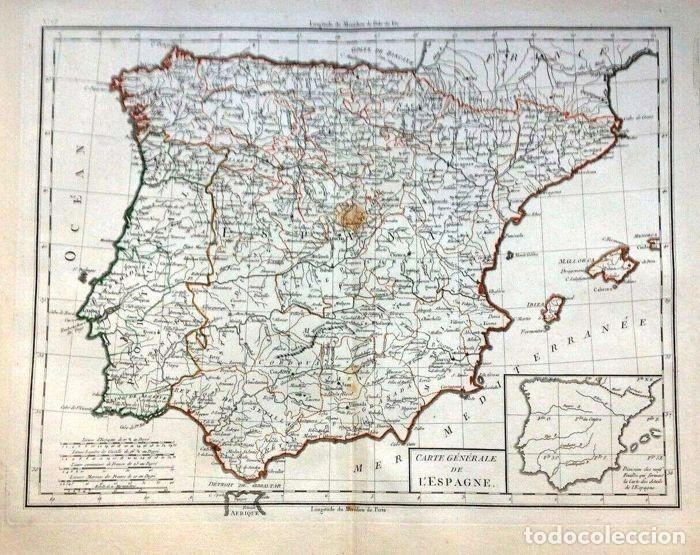 GRAN MAPA ANTIGUO DE LA PENÍNSULA IBÉRICA, .GRABADO DE PLANCHA DE COBRE, MUY DETALLADO, 1788. (Arte - Grabados - Antiguos hasta el siglo XVIII)