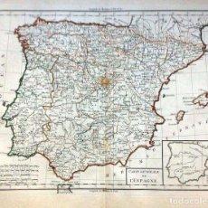 Arte: GRAN MAPA ANTIGUO DE LA PENÍNSULA IBÉRICA, .GRABADO DE PLANCHA DE COBRE, MUY DETALLADO, 1788.. Lote 159272078