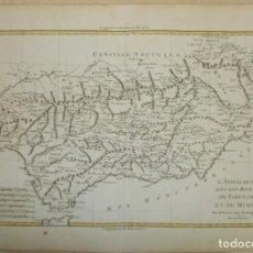 Arte: AÑO 1762. GRAN MAPA DE ANDALUCÍA. L`ANDALOUSIE AVEC LES ROYAUMES DE GRANADE ET DE MURCIE. ORIGINAL. Lote 159496690