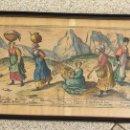 Arte: TIPOS VASCOS. CALCOGRAFIA COLOREADA CIVITATIS ORBIS TERRARUM. FALDON DEL GRABADO ORIGINAL. AÑO 1567. Lote 159621170
