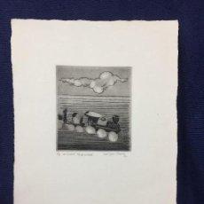 Arte: GRABADO 1 DE 4 DE LA SERIE 6/8 DE BILLETE TREN RODRIGUEZ PRADOS 1989 31,5X21,5CMS. Lote 159667394