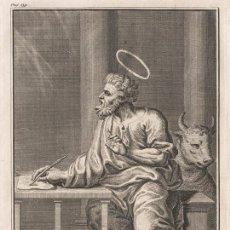 Arte: GRABADO PLANCHA DE COBRE DE 1760, SAN LUCAS EL EVANGELISTA. WILLIAM BURKITT, INFOLIO, SIGLO XVIII. Lote 159699982