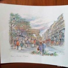 Arte: LAMINA EN COLOR DE PARIS, CAMPOS ELISEOS, 24 X 30 CMS.. Lote 159725610