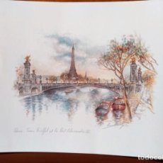 Arte: LAMINA EN COLOR DE PARIS, TORRE EIFFEL Y PUENTE ALEJANDRO III, 24 X 30 CMS.. Lote 159726238