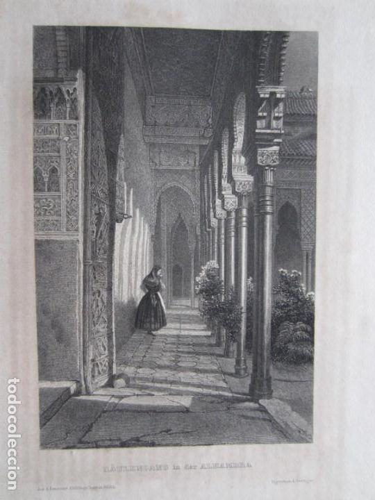 Arte: 1844-GRABADO ORIGINAL. PATIO DE LA ALHAMBRA DE GRANADA - Foto 2 - 159772178