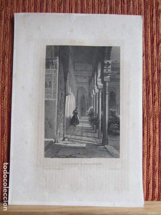 1844-GRABADO ORIGINAL. PATIO DE LA ALHAMBRA DE GRANADA (Arte - Grabados - Modernos siglo XIX)
