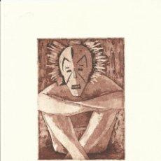 Arte: CONCHI DURO. GRABADO AL AGUATINTA ABORIGEN CON MÁSCARA. PRUEBA DE ARTISTA. FIRMADO A MANO.. Lote 159788382