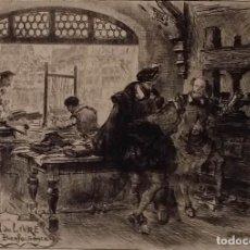 Arte: ALBERT ROBIDA: AGUAFUERTE DEDICADO A LOS IMPRESORES, FIRMADO EN PLANCHA, 1890. Lote 159938074