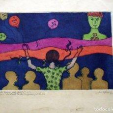 Arte: JUAN C. RODRÍGUEZ. GRABADO LA NIÑA DEL GLOBO. FIRMADO A MANO. NUMERADO 2/12. 1969.. Lote 160024846