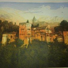 Arte: GRANADA LA ALHAMBRA GRABADO DE CLARA GANGUTIA. Lote 160052330