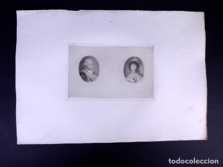 CARLOS IV Y MARÍA LUISA DE BORBÓN. AGUAFUERTE ORIGINAL Nº 17 DE LEMUS. 1876 (Arte - Grabados - Modernos siglo XIX)
