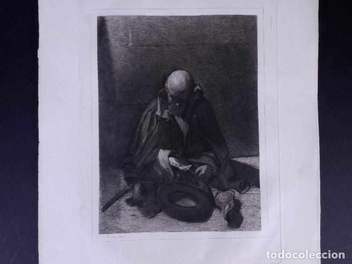 MENDIGO. AGUAFUERTE ORIGINAL Nº 8 DE TUBAU Y ALBERT. 1876 (Arte - Grabados - Modernos siglo XIX)