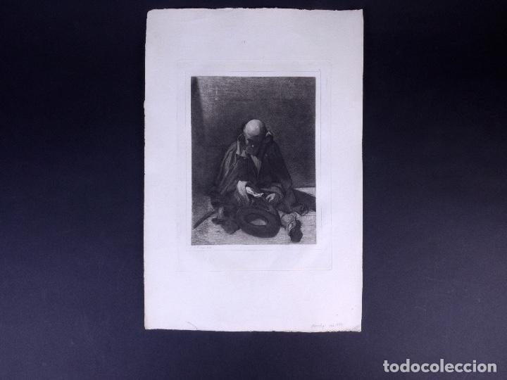 Arte: MENDIGO. AGUAFUERTE ORIGINAL Nº 8 DE TUBAU Y ALBERT. 1876 - Foto 2 - 160229414