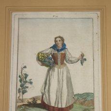 Arte: GRABADO CALCOGRAFICO JUAN DE LA CRUZ. COLOREADO. LABRADORA DE BETANZOS, GALICIA. 1777. Lote 160253516