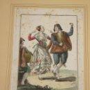 Arte: GRABADO CALCOGRAFICO JUAN DE LA CRUZ. COLOREADO. DOS MANCHEGOS BAILANDO SEGUIDILLAS. 1777. Lote 160253894