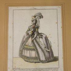 Arte: GRABADO CALCOGRAFICO JUAN DE LA CRUZ. COLOREADO. TRAJE A LA NUEVA ESPAÑOLA. 1777. Lote 160254457
