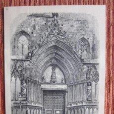 Arte: 1880-GRABADO ORIGINAL. IGLESIA SANTA MARÍA DEL MAR. BARCELONA. Lote 160335510