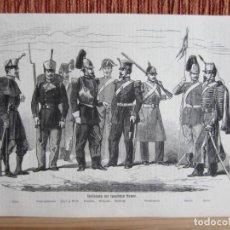 Arte: 1860-GRABADO ORIGINAL. UNIFORMES MILITARES SOLDADOS ESPAÑOLES.ESPAÑA.MILITAR. Lote 160387662
