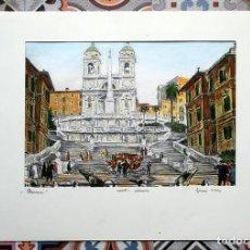 Arte: PRECIOSO GRABADO COLOREADO A LA ACUARELA - ROMA - PLAZA DE ESPAÑA - FIRMADO - PIEZA INTERESANTE. Lote 160452770
