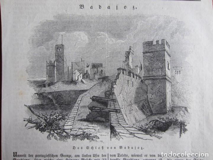 Arte: 1834-GRABADO ORIGINAL. BADAJOZ. CASTILLO DESTRUIDO.CAÑONES - Foto 2 - 160454086
