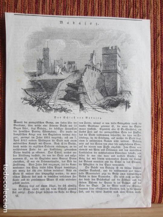 1834-GRABADO ORIGINAL. BADAJOZ. CASTILLO DESTRUIDO.CAÑONES (Arte - Grabados - Modernos siglo XIX)