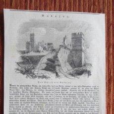 Arte: 1834-GRABADO ORIGINAL. BADAJOZ. CASTILLO DESTRUIDO.CAÑONES. Lote 160454086