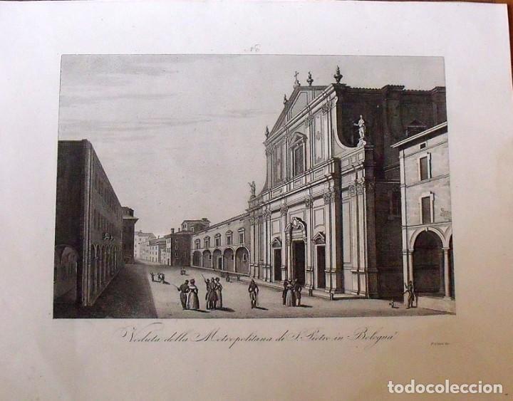 VEDUTA DELLA METROPOLITANA DI S.PIETRO IN BOLOGNA. ZUCCAGNI ORLANDINI EDIT. & F. CORSI INC. 1844. (Arte - Grabados - Modernos siglo XIX)