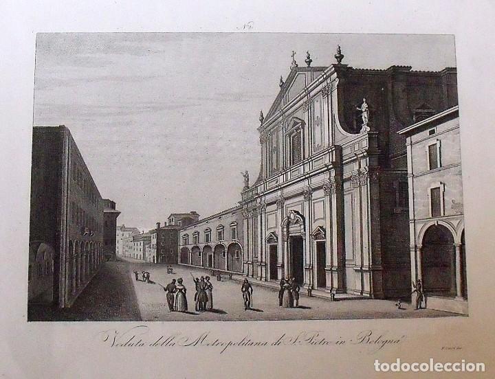 Arte: Veduta della Metropolitana di S.Pietro in Bologna. Zuccagni Orlandini edit. & F. Corsi inc. 1844. - Foto 2 - 160520226