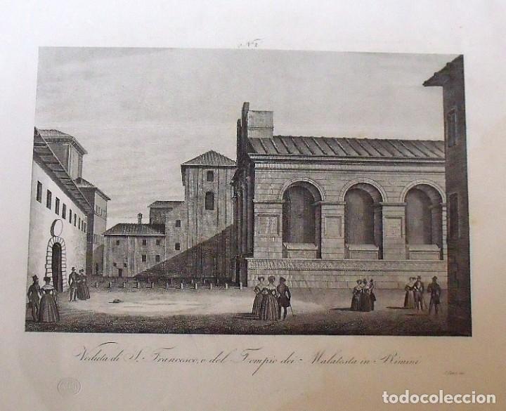 Arte: Grabado Veduta di S. Francesco o del Tempio dei Malatesta in Rimini. Zuccagni Orlandini edit. 1844 - Foto 2 - 160524686