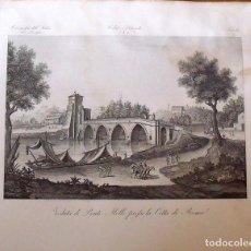 Arte: GRABADO VEDUTA DI PONTE MOLLE PREFSO LA CITTA DI ROMA. ZUCCAGNI ORLANDINI EDIT. 1844. Lote 160525958
