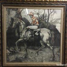 Arte: FERNANDO BELLVER, AGUAFUERTE ENMARCADO, CRÓNICA DE UNA CARRERA, DURERO,1.987, FIRMADO Y NUMERADO. Lote 160648310