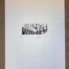Arte: GRABADO DE TXEMA ELEXPURU NUMERADO (67/200). OBRA SOBRE EL GUGGENHEIM BILBAO EN 1995. 27,5 X 32 CMS.. Lote 160649978