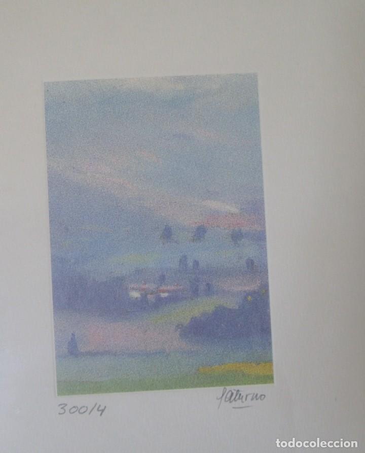 Arte: Grabado Saturno Cerra. Edición limitada numerada y firmada. Marco de madera de sicomoro, boj y ukola - Foto 3 - 160864978