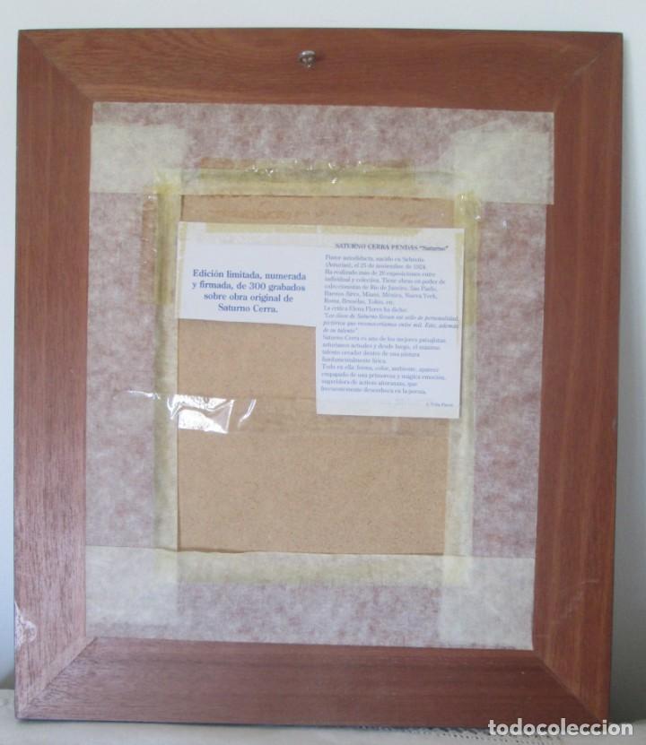 Arte: Grabado Saturno Cerra. Edición limitada numerada y firmada. Marco de madera de sicomoro, boj y ukola - Foto 6 - 160864978