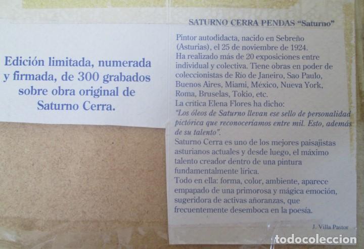 Arte: Grabado Saturno Cerra. Edición limitada numerada y firmada. Marco de madera de sicomoro, boj y ukola - Foto 7 - 160864978