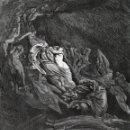 Arte: DORÉ, XILOGRAFÍA C.1883. DIVINA COMEDIA. INFIERNO, DANTE CAE DESMAYADO, PAOLO Y FRANCESCA. GRABADO. Lote 160886510