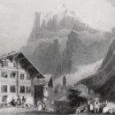 Arte: GRABADO AL ACERO DE 1873, VISTA DE GRINDELWALD, SUIZA, JUNGFRAU, ALPES, MONTE EIGER, W. H. BARTLETT. Lote 160886690