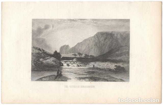 GRABADO: UNA CASCADA EN CARNARVONSHIRE (GALES) A. ROCA. 25X16 (Arte - Grabados - Modernos siglo XIX)