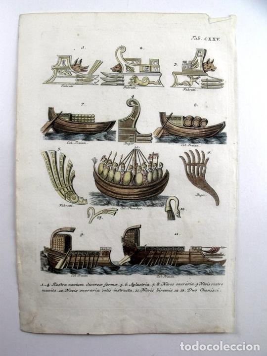 DIFERENTES TIPOS DE EMBARCACIONES ROMANAS, 1757. MONTFAUCON (Arte - Grabados - Antiguos hasta el siglo XVIII)