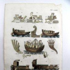 Arte: DIFERENTES TIPOS DE EMBARCACIONES ROMANAS, 1757. MONTFAUCON. Lote 161095978