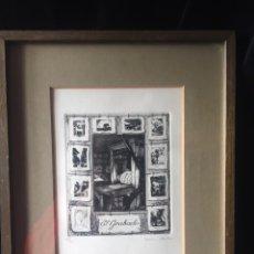 Arte: 'EL GRABADO'. GRABADO AL AGUAFUERTE ENMARCADO DE MARTÍN OLIETE, FIRMADO. ED. DE 500 EJEMPLARES (Nº20. Lote 161131894