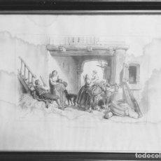 Arte: UNE LEÇON D'ÉQUITATION. GRABADO FRANCÉS DEL S. XIX. Lote 161183954
