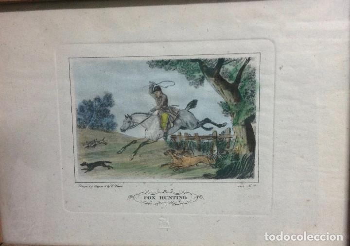 GRABADOS INGLESES, A COLOR. A ELEGIR: MOTIVO CAZA Y EQUITACIÓN. DISEÑO Y GRABADO POR C. VERNET. 1882 (Arte - Grabados - Modernos siglo XIX)