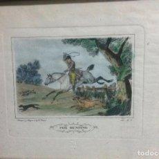 Arte: OCHO GRABADOS INGLESES (8), A COLOR, MOTIVO CAZA Y EQUITACIÓN, DISEÑO Y GRABADO POR C. VERNET. 1882.. Lote 161184482