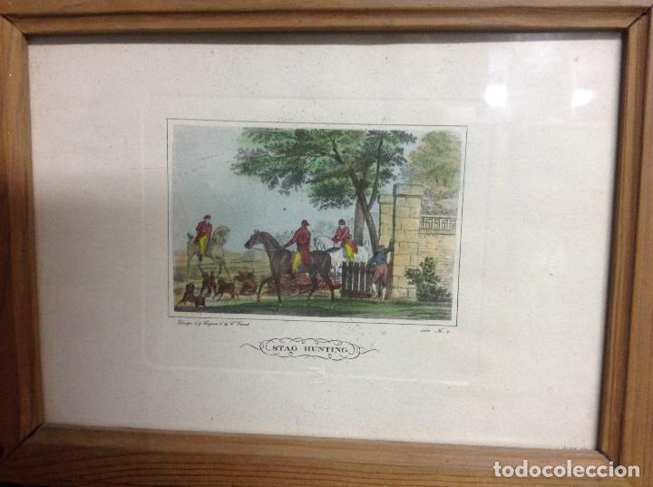 Arte: Grabados ingleses, a color. A elegir: motivo caza y equitación. Diseño y grabado por C. Vernet. 1882 - Foto 2 - 161184482