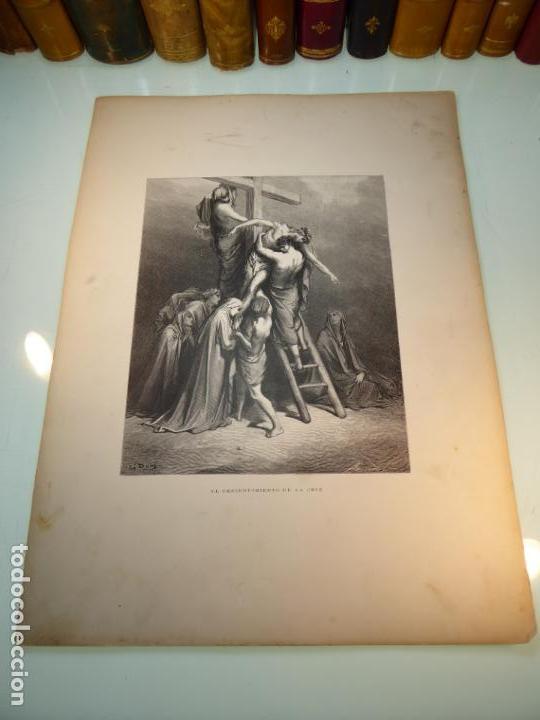 Arte: Grabado antiguo religioso. El descendimiento de la cruz. Gustave Doré. S-XIX. - Foto 2 - 161643506