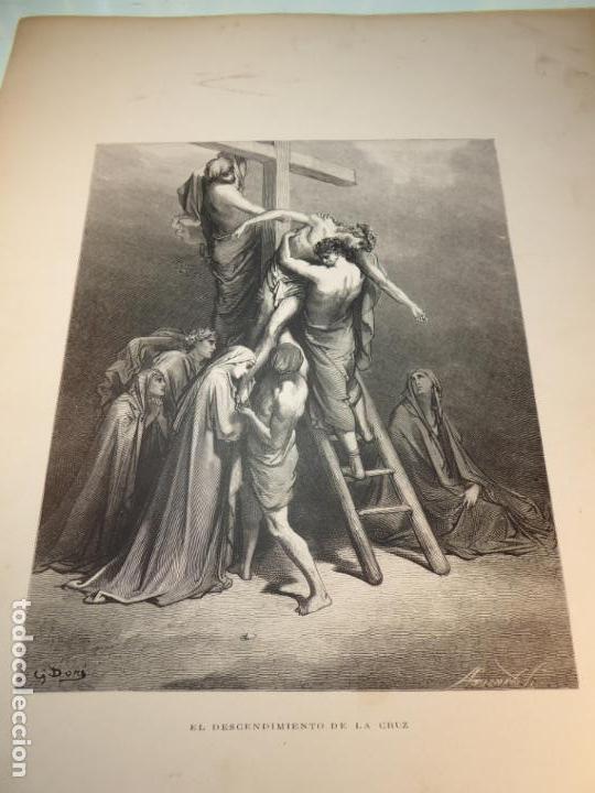 Arte: Grabado antiguo religioso. El descendimiento de la cruz. Gustave Doré. S-XIX. - Foto 3 - 161643506