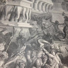 Arte: GRABADO ANTIGUO RELIGIOSO. JONATÁS DESTRUYE EL TEMPLO DE DAGON. GUSTAVE DORÉ. S-XIX.. Lote 161645974