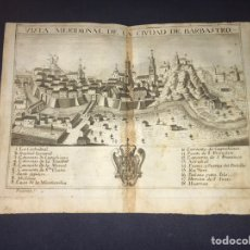 Arte: VISTA MERIDIONAL DE LA CIUDAD DE BARBASTRO. GRABADO POR PALOMINO. 1779. ORIGINAL.. Lote 40366663